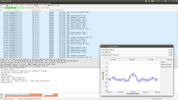 Sniffing GSM traffic with HackRF.